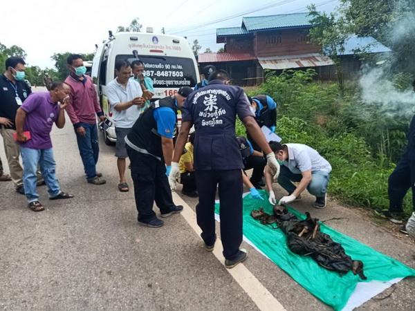 ผงะ ! พบศพชายเหลือแต่โครงกระดูกห่อด้วยเสื่อน้ำมันถูกทิ้งริมถนนสายนครไทย – ภูหินร่องกล้า