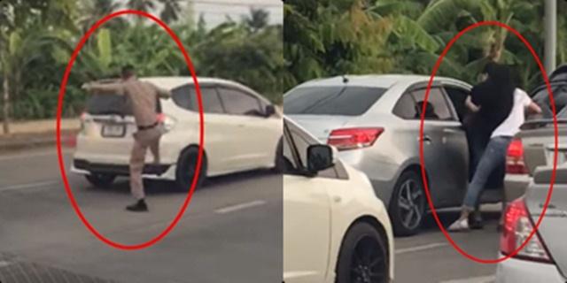 หนุ่มชุดข้าราชการหัวร้อน กระโดดถีบเก๋งก่อนสุดท้ายโดนทุบรถคืนจนกระจกแตก (ชมคลิป)