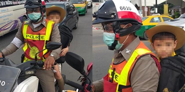 ชื่นชม! ตำรวจน้ำดี อาสาพาเด็กชายส่ง ร.ร. แทน หลังรถผู้ปกครองยางแตก