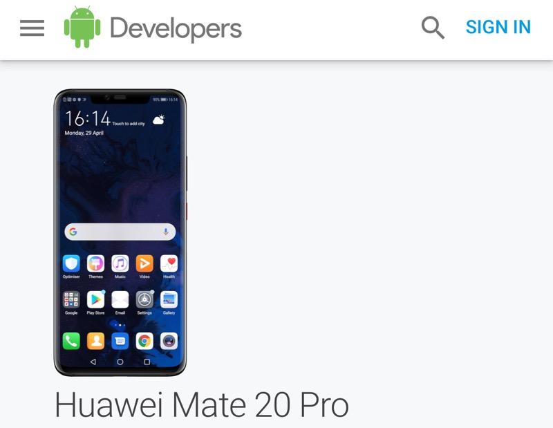 สัญญาณดี กูเกิล ใส่รายชื่อ Huawei Mate20 Pro ในการทดสอบ Android Q Beta
