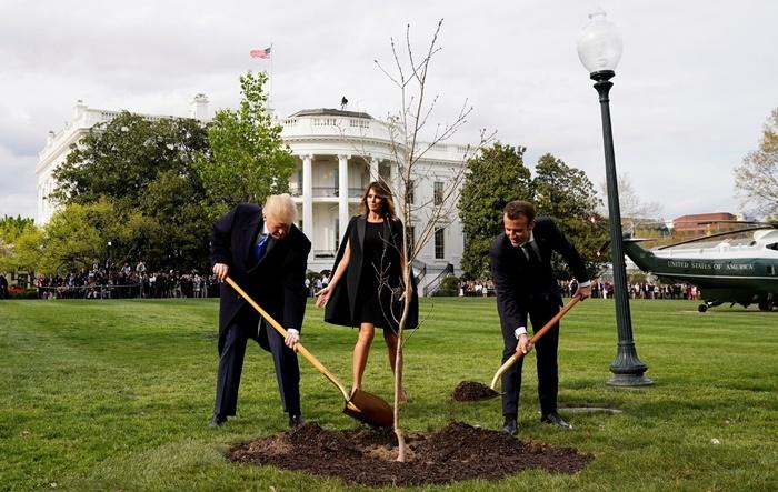 ประธานาธิบดีโดนัลด์ ทรัมป์ แห่งสหรัฐฯ กับ ประธานาธิบดีเอ็มมานูเอล มาครง แห่งฝรั่งเศส  ร่วมปลูกต้นไม้ (ที่ทำเนียบขาว) เมื่อเมษายน  2018