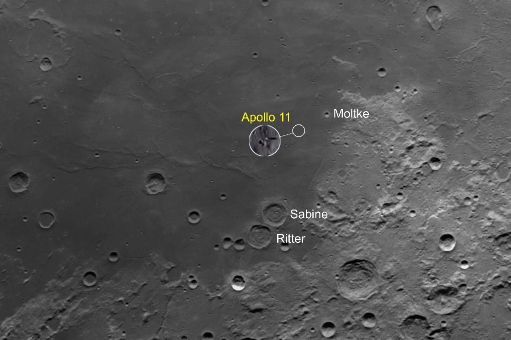 ถ่ายภาพดวงจันทร์กับบริเวณลงจอดของยานอวกาศ Apollo 11