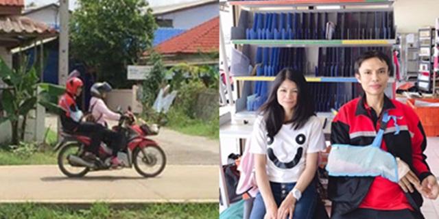 ชื่นชม! บุรุษไปรษณีย์ลำพูนใส่เฝือกแขน-ขา ซ้อนท้ายแฟนสาวส่งจดหมายตามบ้าน