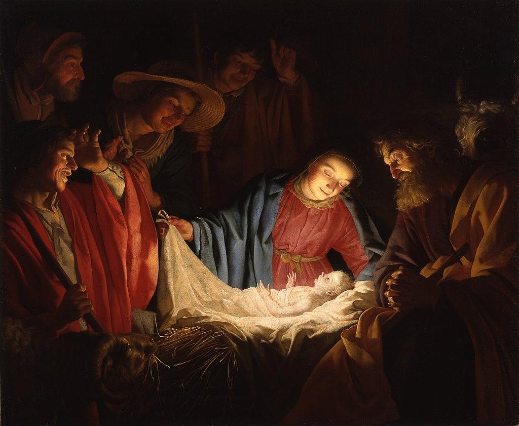 ภาพวาดจำลองวันประสูติพระเยซู Adoration of the Shepherds  วาดโดย Gerard van Honthorst (ปี ค.ศ.1622)