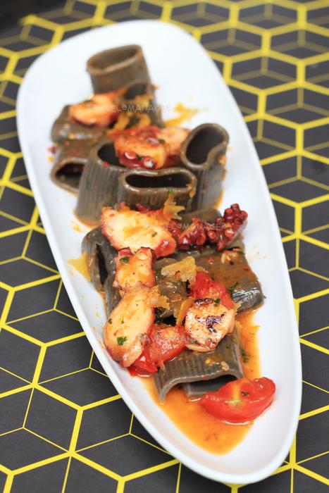 Paccheri Squid Ink, Garlic Chili, Roasted Octopus