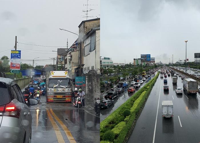 ฝนเทแต่เช้า! ตกนาน-น้ำท่วม-รถติด ถ.เพชรเกษม-พระราม 2 หนักสุด รับวันทำงานวันแรกของสัปดาห์