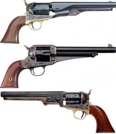 Colt 1851 Navy,  Colt 1861 Navy, และ Remington 1875 : ทั้ง 3 กระบอกนี้เป็นปืนที่จอห์น วิค ถอดประกอบหลายๆ ส่วนมารวมเป็นกระบอกเดียว ซึ่งใช้ยิงนักฆ่าเอเชียตอนเปิดเรื่อง