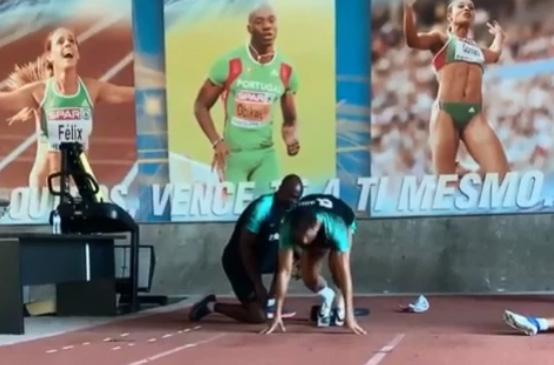 """โคตรโหด!! """"พี่โด้"""" ซ้อมสปรินท์ 100 ม. โดยมีนักวิ่งโอลิมปิกติวเข้ม (คลิป)"""