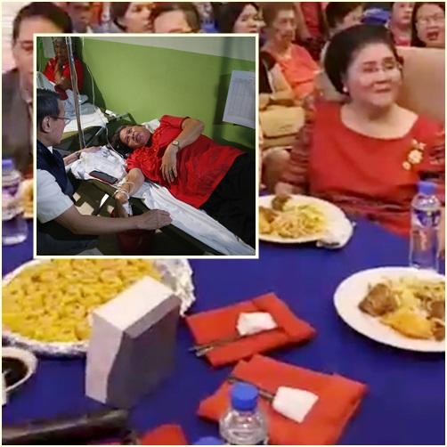 "In Clip: แขกหลายร้อยร่วมงานเลี้ยงวันเกิด ""อิเมลดา มาร์กอส"" โดนอาหารเป็นพิษเล่นงาน ถูกส่งตัวโรงพยาบาลระนาว"