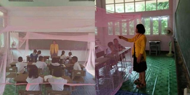 """ชื่นชมครู! """"กางมุ้งกลางห้องเรียน"""" เพื่อป้องกันไข้เลือดออกระบาด"""