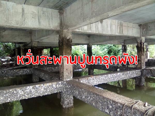 ชาวละงูร้องช่วยซ่อมสะพานปูนกร่อน แตกร้าวจนเห็นโครงเหล็ก-หวั่นทรุดพัง