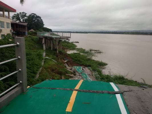 ดินสไลด์ต่อเนื่องสะพานปั่นริมโขงทรุดเพิ่ม คาดใช้เงินซ่อมกว่า2ล้านสร้างใหม่หลังฝน