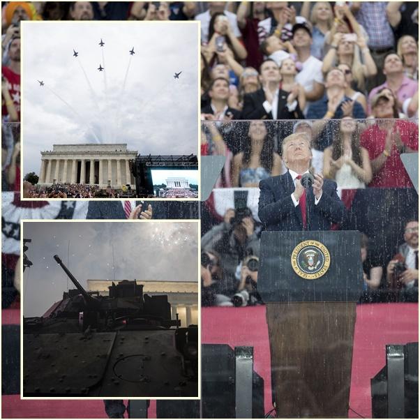 """In Pics&Clip: อเมริกาจัดใหญ่ โชว์ """"รถถัง-ฝูงบิน F-18 บลู แองเจิล"""" วันชาติสหรัฐฯทรัมป์จ้อผิดกลางเวที กล่าวถึง """"สนามบิน"""" ในยุคสงครามตั้งประเทศ"""