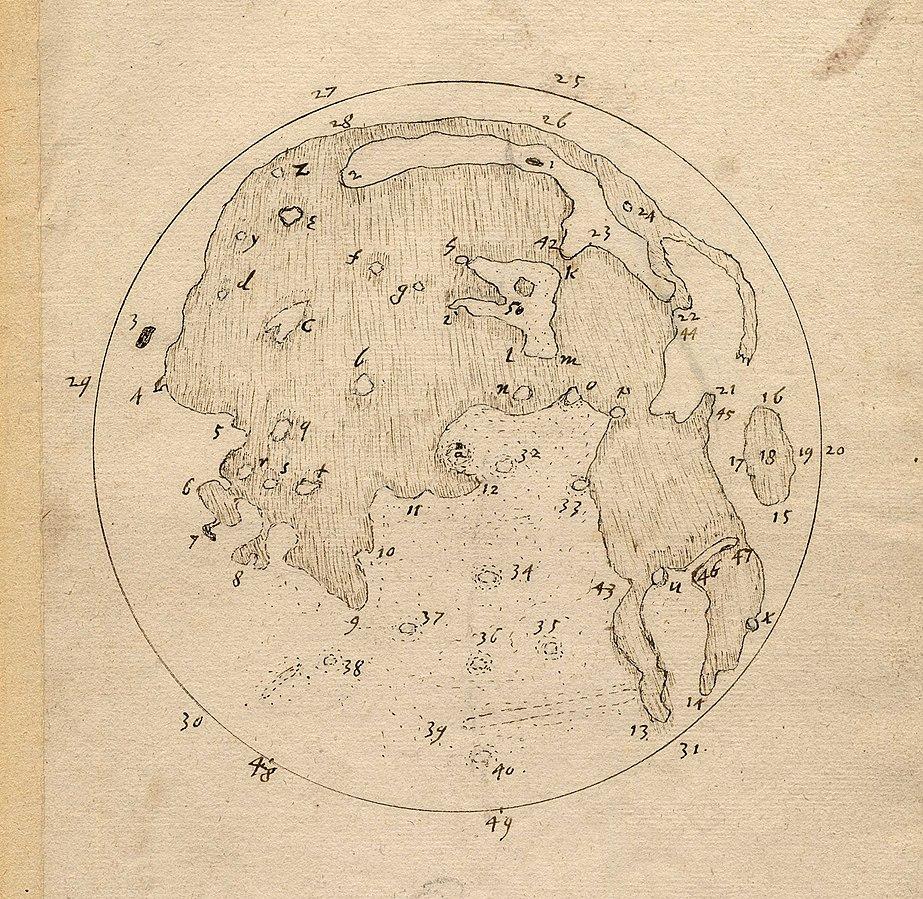 ภาพหลุมอุกกาบาตบนดวงจันทร์ที่บันทึกโดย Thomas Herriot เมื่อปี ค.ศ.1906