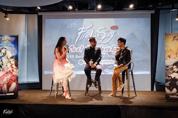 คุณจู เหวิน หยวน ผู้สร้างเกม Fire Like The Song ร่วมพูดคุยและตอบคำถามผู้เล่นแบบสด ๆบนเวที