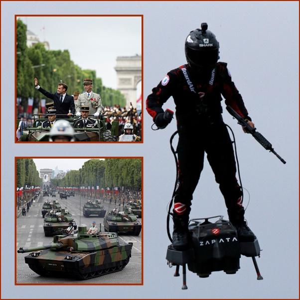 """ชมคลิปฟลายบอร์ดเหนือฟ้า: วันชาติฝรั่งเศส """"มาครง"""" แสดงแสนยานุภาพความร่วมมือทางการทหารยุโรป"""