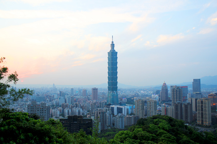 วิวมุมสูงของเมืองไทเป