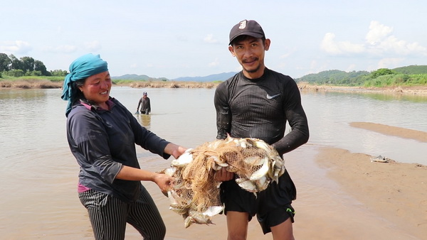 น้ำแห้ง!ชาวบ้านแห่ลงจับปลาในลำน้ำโขง ไม่หวั่นภัยเขื่อนไซยะบุรีทดลองปั่นกระแสไฟ