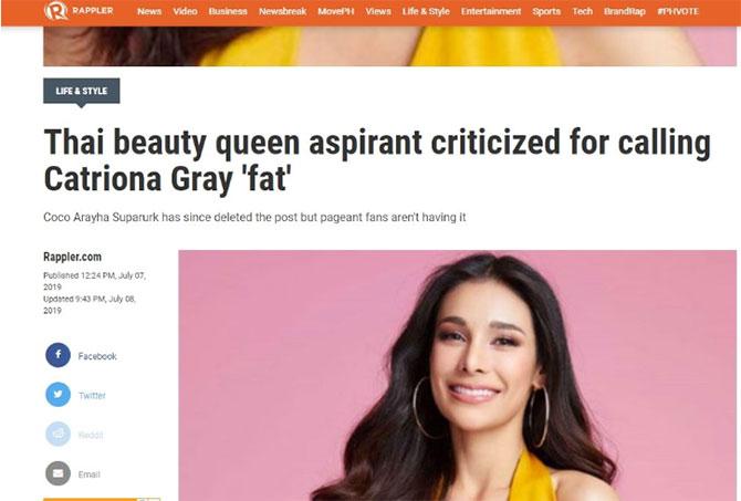 สื่อต่างชาติและเเฟนเพจนางงามฟิลิปปินส์ต่างลงข่าวโกโก้เหยียดรูปร่างแคทรีโอนา
