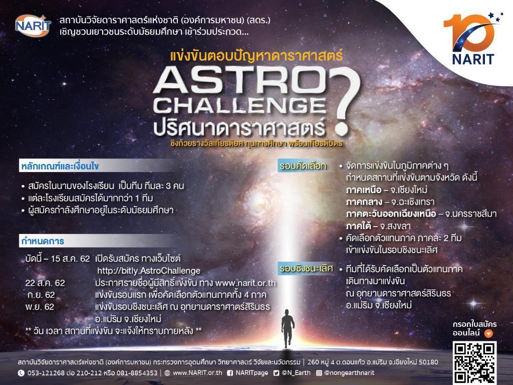 สดร.จัด 4 การแข่งขันดาราศาสตร์ระดับชาติฉลองครบ 10 ปี