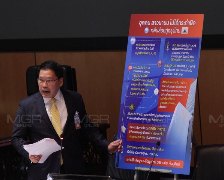 """""""อุตตม""""โพสต์แจงซ้ำคดีกรุงไทย แบงก์ชาติเคยชี้ตั้งแต่ปี 48 ตนไม่เกี่ยว คตส.ตรวจสอบซ้ำตนบริสุทธิ์ ปัดวิ่งล้มคดี"""
