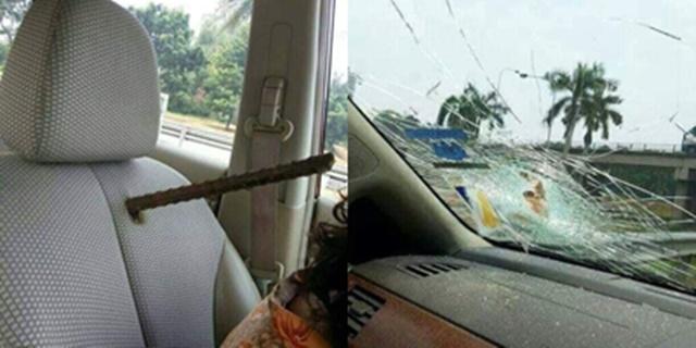 อุทาหรณ์! สำหรับผู้ที่ชอบขับขี่จี้ท้าย เหล็กแหลมทะลุกระจก เคราะห์ดีไม่มีใครได้รับบาดเจ็บ