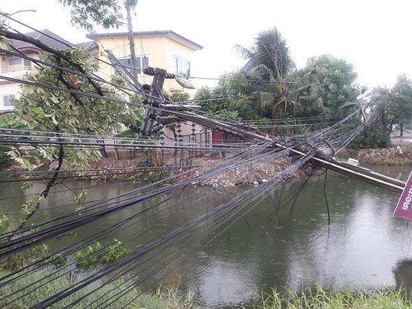 พายุฝนพัดกระหน่ำนครปฐม ทำเสาไฟฟ้าแรงสูงล้มไฟดับกว่า 100 หลังคาเรือน