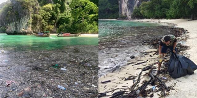 เผยภาพทะเลเกาะห้อง จ.กระบี่ ขยะลอยเป็นแพ ห่วงส่งผลกระทบต่อธรรมชาติ