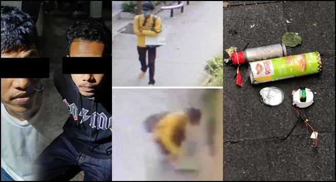 สองผู้ต้องสงสัยลอบวางระเบิดหน้าสำนักงานตำรวจแห่งชาติที่ถูกเจ้าหน้าที่รวบตัวได้