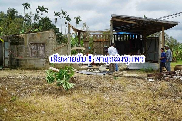 พายุงวงช้างกระหน่ำทำบ้านเรือนที่ชุมพรเสียหายกว่า 20 หลัง ต้นทุเรียน ลองกองเสียหายยับ
