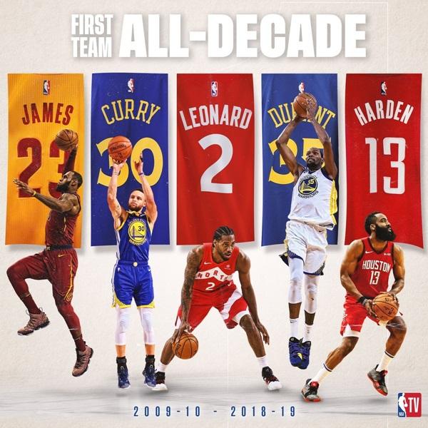 """เผยทีมแห่งทศวรรษ NBA """"เลอบรอน-เคดี"""" ติดชุดแรก กวาดแชมป์รวม 10 สมัย"""