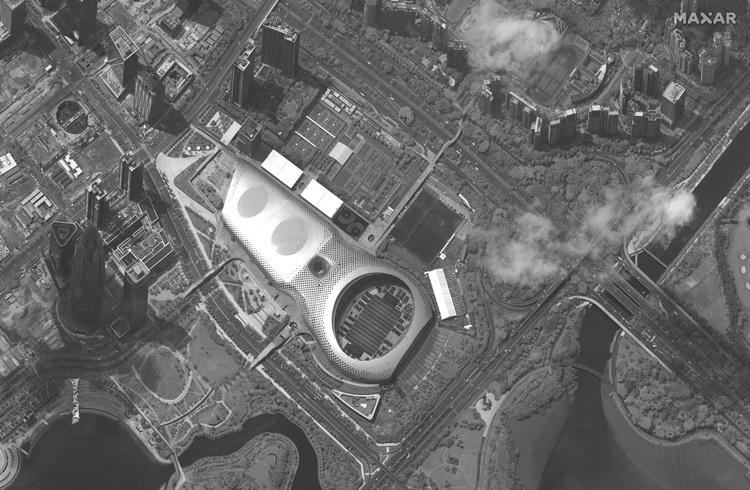 ภาพถ่ายผ่านดาวเทียมแสดงถึงสนามกีฬาเมืองเซินเจิ้นของจีนวันจันทร์(12)