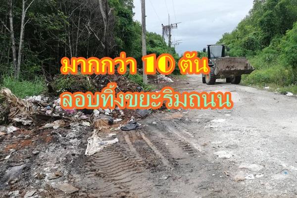 เร่งเก็บขยะลักลอบทิ้งริมถนนป่าชายเลนพบมีไม่ต่ำกว่า 10 ตัน