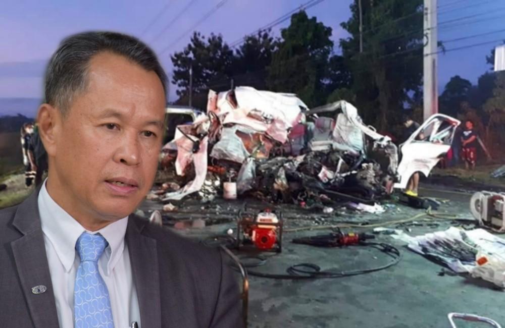 สคอ.จี้สอบ 7 ประเด็น อุบัติเหตุใหญ่รถตู้ชน 18 ล้อ คร่าชาวลาว 11 ศพ