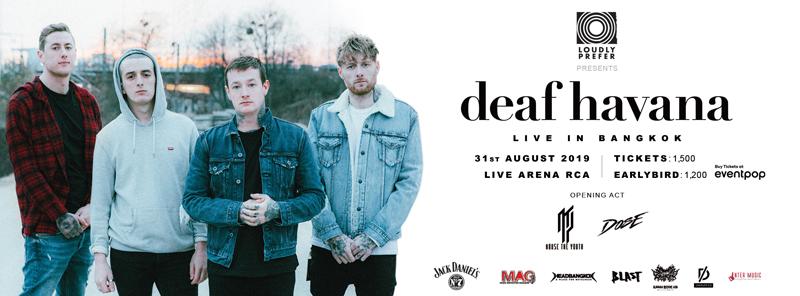 """สาวกสายอัลเตอร์เนทีฟ-อีโม-โพสต์-ฮาร์ดคอร์ โปรดฟังทางนี้! ปรมาจารย์สายร็อคพร้อมกระซวกความมันให้ท่านแล้ว ใน """"Deaf Havana Asia Tour 2019 - Live in Bangkok"""""""