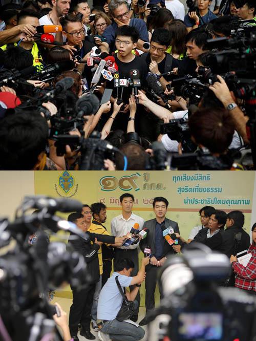 โจชัว หว่อง แกนนำคนรุ่นใหม่ของฮ่องกง (ภาพบน), ธนาธร จึงรุ่งเรืองกิจ-ปิยบุตร แสงกนกกุล 2 แกนนำคนรุ่นใหม่ของไทย (ภาพล่าง)