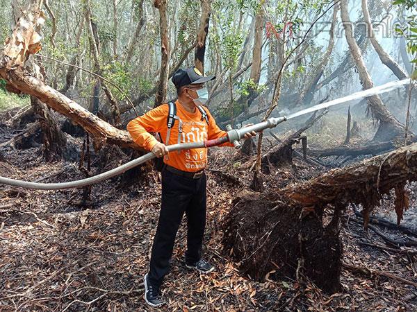 ผวจ.พัทลุงลงพื้นที่ช่วยดับไฟป่าพรุทะเลน้อย ขณะที่สถานการณ์ภาพรวมยังไม่ดีขึ้น