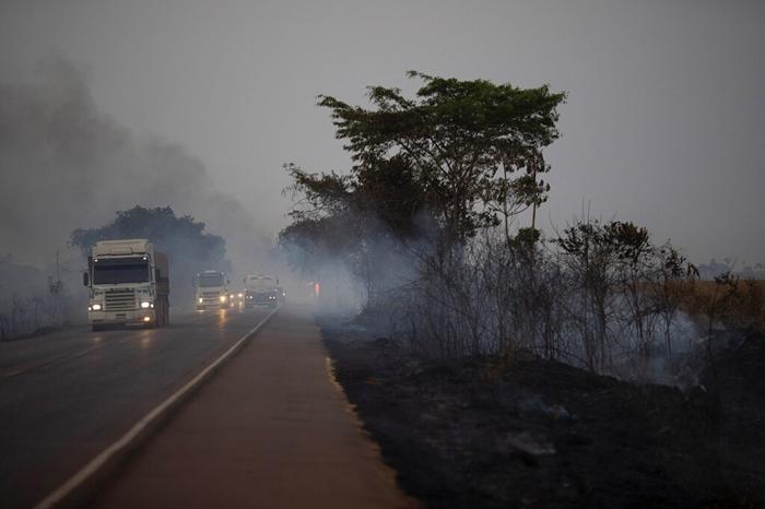 <i>รถบรรทุกแล่นไปข้างๆ ไร่ที่ถูกพระเพลิงเผาผลาญ บนทางเหลวง บีอาร์ 163 ในเขตเทศบาลโนวาซานตาเฮลานา รัฐมาตูโกรสซู เมื่อวันศุกร์ (23 ส.ค.) </i>