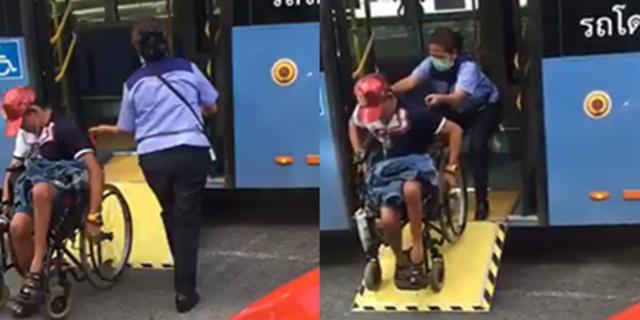ชื่นชม! พนักงานรถเมล์ สาย 510 ช่วยผู้พิการเปิดทางลาด-เข็นวีลแชร์