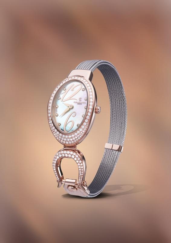 03 ชาร์ริโอล์ (Charriol) นำเสนอ Charriol Lady Marie-OLGA Watch Crown Rose ตัวเรือนสแตนเลส สีทองเหลืองหรือโรสโกลด์ PVD ประดับเพชรสีขาว 0.85 กะรัต 89 เม็ด + เพชร 0.37 กะรัต 59 เม็ด ที่ตะขอ หน้าปัดมุกขาวประดับเพชร 10 เม็ด
