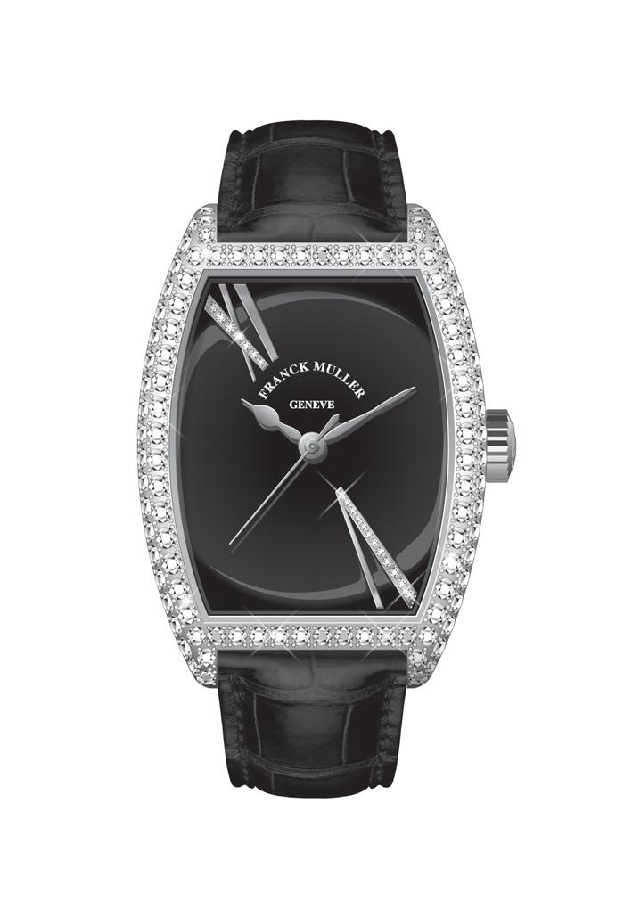 04 แฟรงก์ มุลเลอร์ (Franck Muller) แนะนำ Cintr_e Curvex Vatanika Noir Diamond Limited Edition ตัวเรือนสตีลล้อมเพชร หน้าปัดแล็กเกอร์สีดำ โดดเด่นด้วยตัวเลขโรมัน V และ XI ประดับเพชร สายหนังจระเข้สีดำ ผลิตเพียง 9 เรือน ราคา 1,345,000 บาท