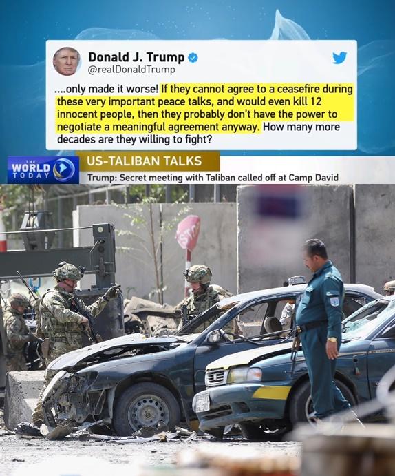 """In Clip:  """"ทรัมป์""""  เลิกเจรจาสันติภาพกับตอลีบานที่ """"แคมป์เดวิด"""" ในสหรัฐฯ  ส่วนอัฟกานิสถานชื่นชม"""