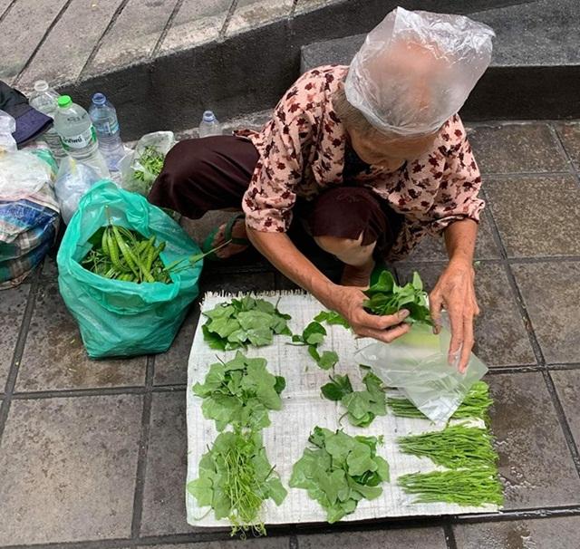 แห่อุดหนุน! ยายนั่งขายผักพื้นบ้านริมถนนทางลงบีทีเอส อุดมสุข ราคากองละ 5 บาท