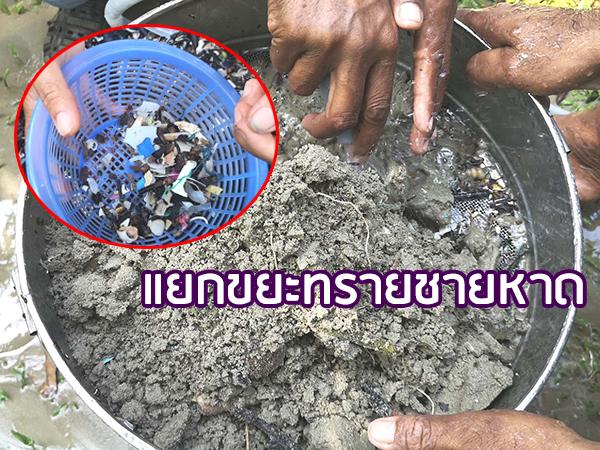 ทดลองนำทรายชายหาดใน จ.ตรัง มาแยกขยะหาการปนเปื้อน พบส่วนใหญ่มีเศษไม้