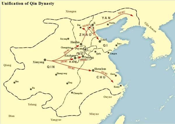 แคว้นฉินใช้เวลาเพียง 10 ปี ทำสงครามผนวกดินแดนหกแคว้นใหญ่ หาน จ้าว เว่ย ฉู่ เยี่ยน และฉี ตามลำดับ จนกลายเป็นแผ่นดินใหญ่ซึ่งเป็นพื้นที่ส่วนใหญ่ของจีนในปัจจุบัน, ภาพกราฟฟิกแสดงแผนที่หกแคว้นที่ฉินทำสงครามผนวกดินแดน เครดิตภาพ https://en.wikipedia.org/wiki/Qin_Shi_Huang