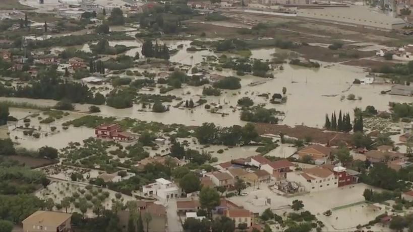 ภาพถ่ายทางอากาศบริเวณพื้นที่ประสบภัยน้ำท่วมในแคว้นมูร์เซียของสเปน เมื่อวันที่ 13 ก.ย.