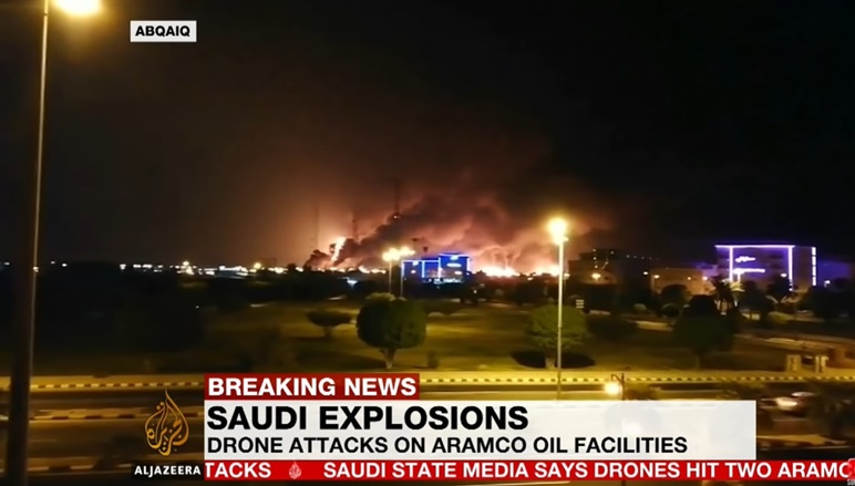 """In Clips: สหรัฐฯชี้ """"อิหร่าน""""อยู่เบื้องหลังโรงงานกลั่นน้ำมันซาอุฯถูกโจม ทำเอาซัพพลายหายไปครึ่งหนึ่ง"""