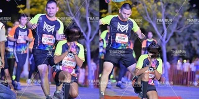 เตือนอย่าทำอีก! นักวิ่งโอดเจอเพื่อนวิ่งเข้าเส้นชัยหยุดกะทันหันเพื่อถ่ายรูป โชคดีหลบทัน