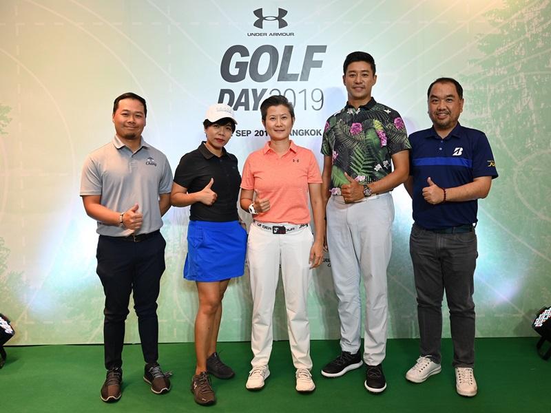 ปริศนา ศิริสมถะ (กลาง) ผู้จัดการทั่วไป และ จริญญา  เขียวหวาน (สองจากซ้าย) ผู้จัดการอาวุโสฝ่ายการตลาดและสื่อสารองค์กร บริษัท ยูเอ สปอร์ต (ประเทศไทย) จำกัด เปิดการแข่งขัน UA Golf Day 2019 ครั้งที่ 2 ในประเทศไทย พร้อมแนะนำ Curry Golf  เสื้อผ้ากอล์ฟคอลเลกชันใหม่ โดยมี โปรเจย์ วันปีย์ สัจจมาร์ค (สองจากขวา) โปรกอล์ฟชื่อดังของเมืองไทย, ภัทริศร์ ถนอมสิงห์ (ซ้าย) ผู้จัดการโครงการกีฬา ไทยเบฟไทยทาเล้นท์ บริษัท ไทยเบฟเวอเรจ จํากัด มหาชน และ พิริยะ ติยะวุฒิโรจน์ (ขวา) ผจก.ทั่วไป บจก.กอล์ฟ เรฟโวลูชั่น ร่วมงาน ณ ร้านแบรนด์เฮ้าส์ อันเดอร์ อาร์เมอร์ ไอคอนสยาม