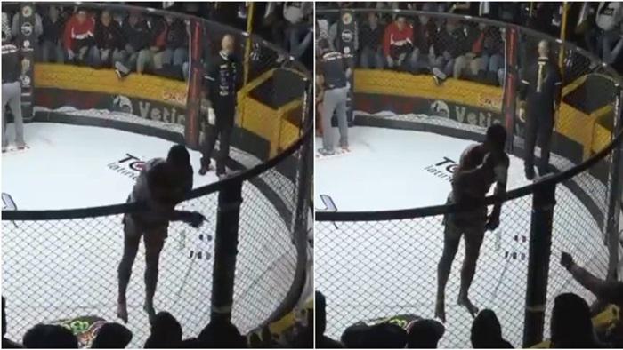 """(คลิป) เปรี้ยวปากจนแพ้ """"นักสู้ MMA"""" ซดเบียร์จากแฟนมวยก่อนเมาพ่าย"""